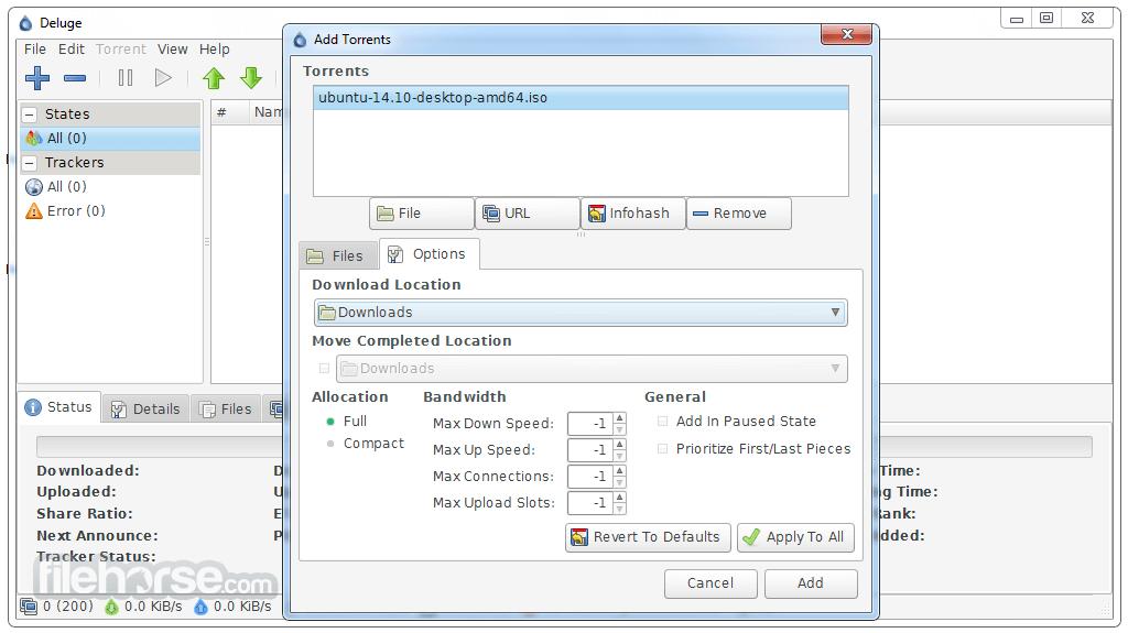 Deluge 1.3.8 Screenshot 1
