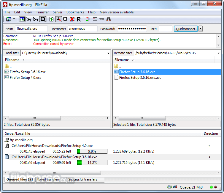 FileZilla 3.25.0 (32-bit) Screenshot 1