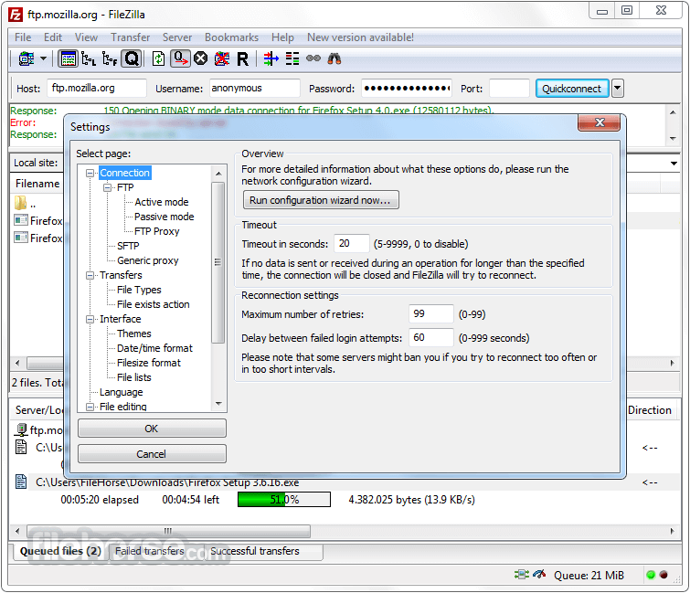 FileZilla 3.25.0 (32-bit) Screenshot 3