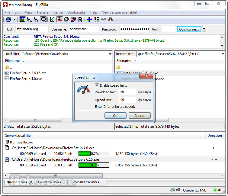 FileZilla 3.25.0 (32-bit) Screenshot 4