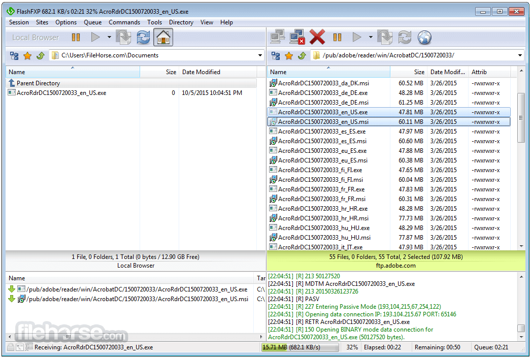 FlashFXP 5.4.0 Build 3970 Screenshot 2