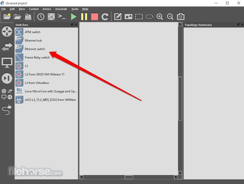 GNS3 2.1.2 Captura de Pantalla 1