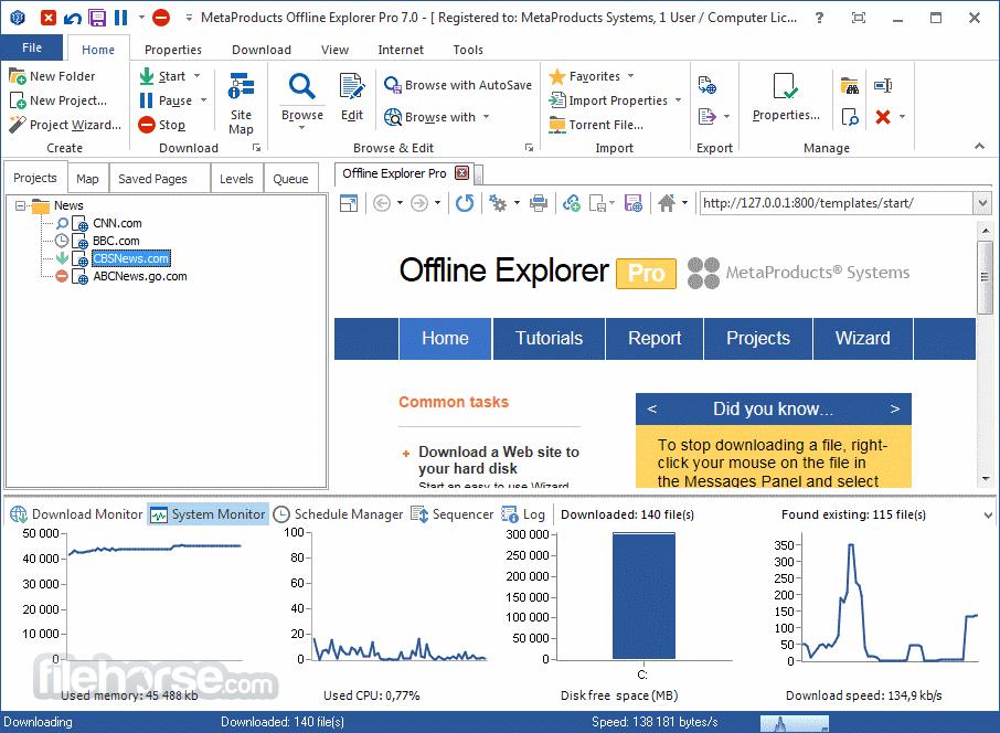 Offline Explorer Pro 8.1 Build 4896 Captura de Pantalla 1