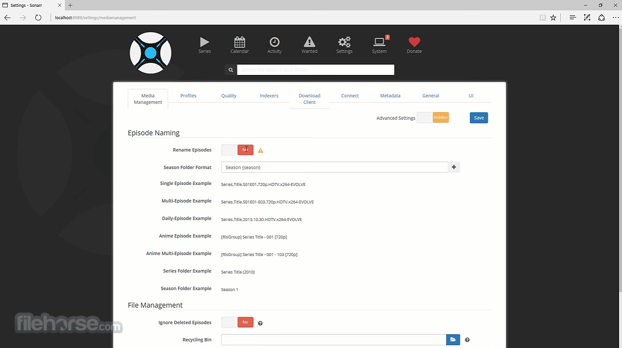 Sonarr 2.0.0.5344 Screenshot 3