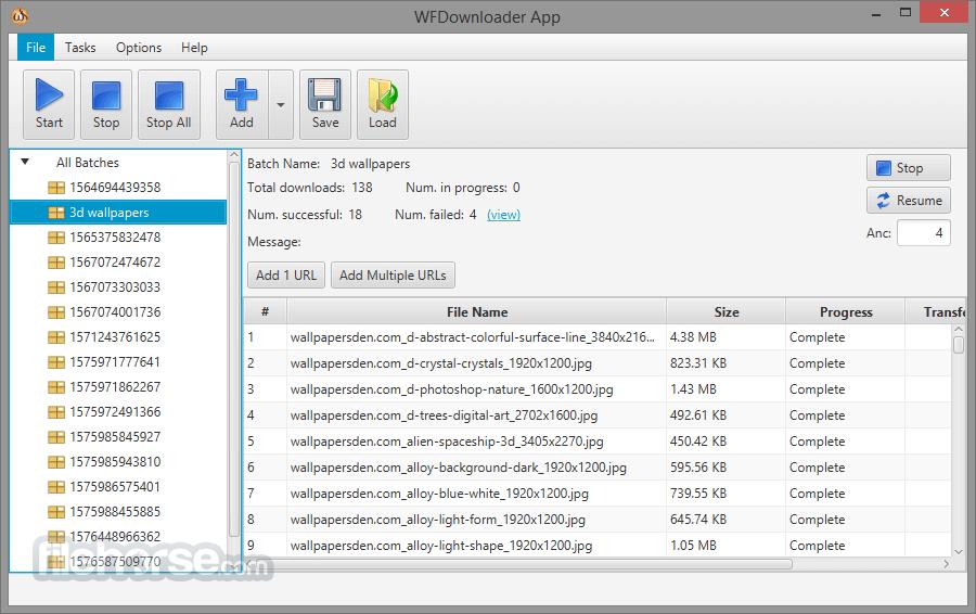 WFDownloader 0.7.6 (32-bit) Captura de Pantalla 1