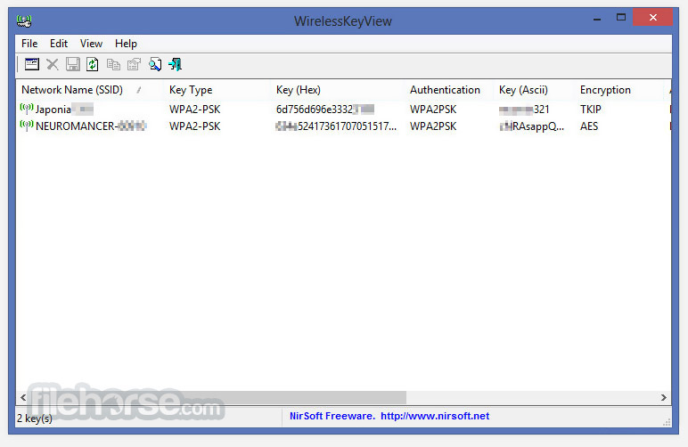 wirelesskeyview pour windows xp