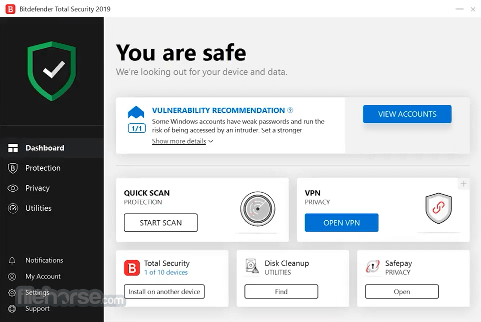 Bitdefender Total Security 2018 Build 23.0.8.17 (32-bit) Captura de Pantalla 1