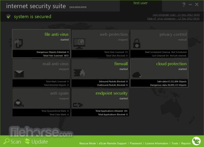 eScan Internet Security Suite 14.0.1400.2027 Captura de Pantalla 1