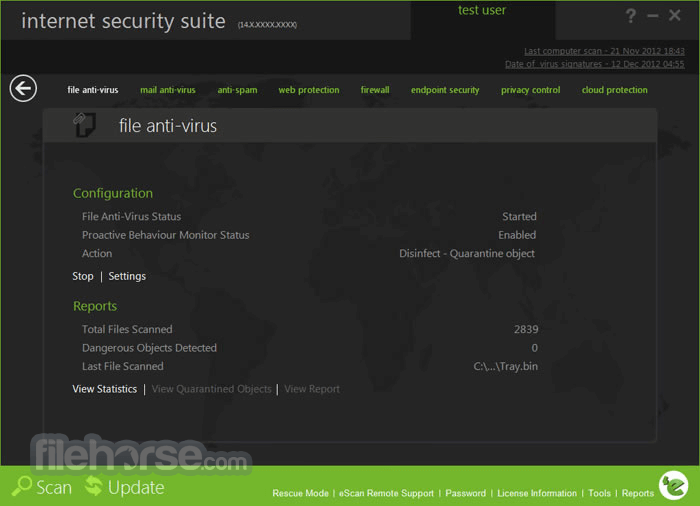 eScan Internet Security Suite 14.0.1400.2103 Screenshot 2