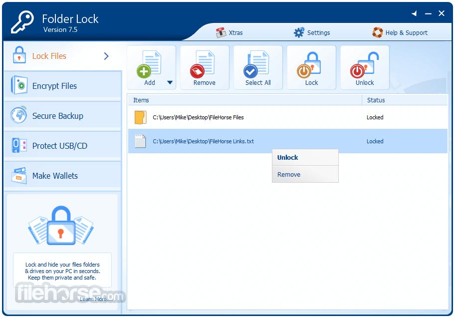 Folder Lock 7.7.2 Captura de Pantalla 3