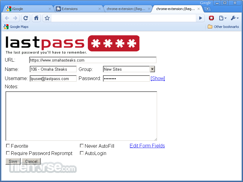 LastPass 3.1.0 (32-bit) Screenshot 3