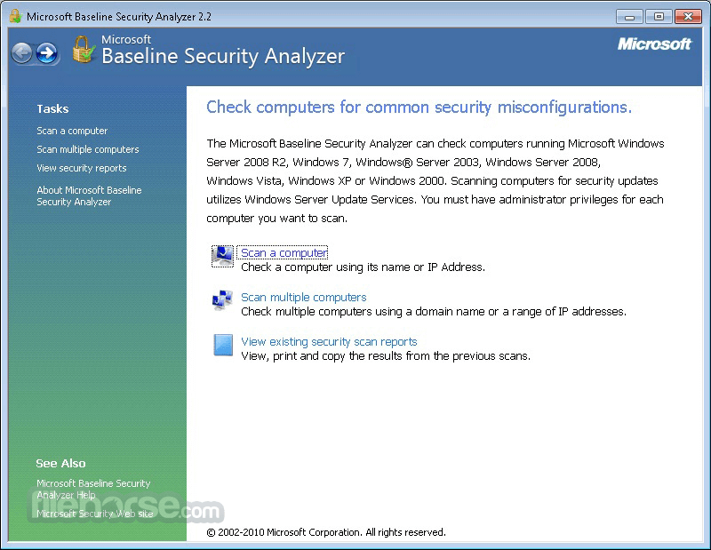 Microsoft Baseline Security Analyzer 2.3 (64-bit) Captura de Pantalla 1