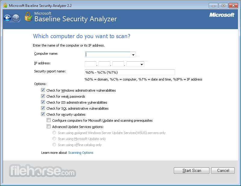 Microsoft Baseline Security Analyzer 2.3 (64-bit) Captura de Pantalla 2