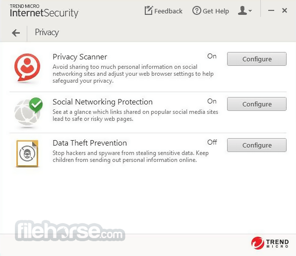 Trend Micro Internet Security 2017 11.0.1158 Captura de Pantalla 3