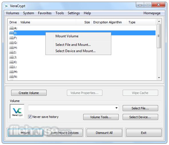 VeraCrypt 1.23 Hotfix 1 Captura de Pantalla 1