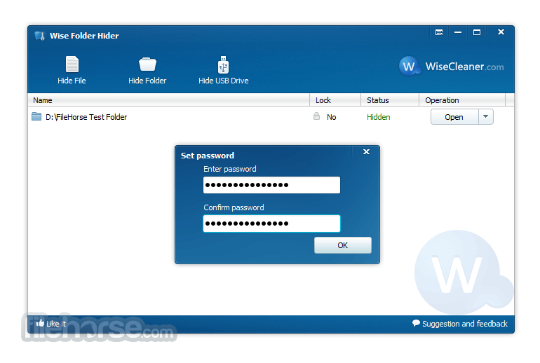 Wise Folder Hider 4.3.9 Captura de Pantalla 3