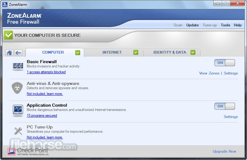 ZoneAlarm Free Firewall 15.1.509.17508 Captura de Pantalla 2