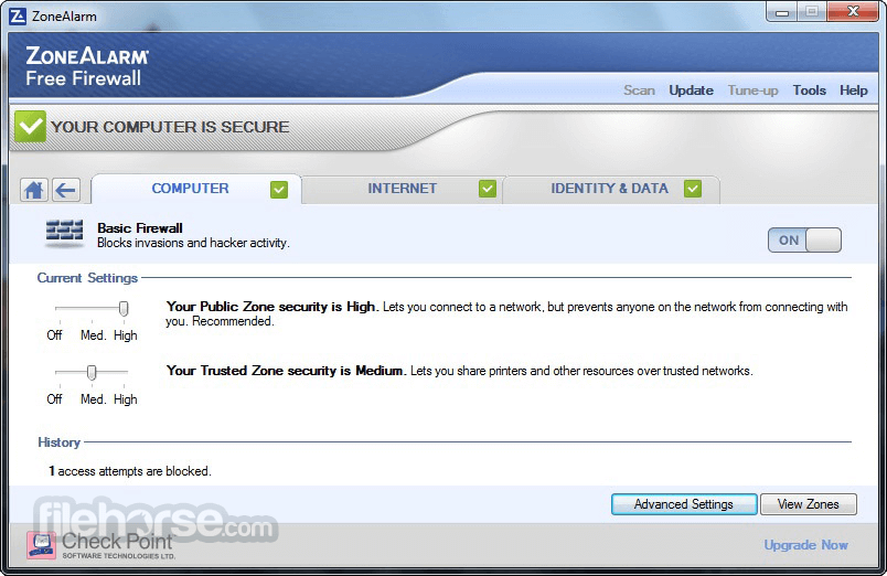 ZoneAlarm Free Firewall 15.1.509.17508 Captura de Pantalla 4