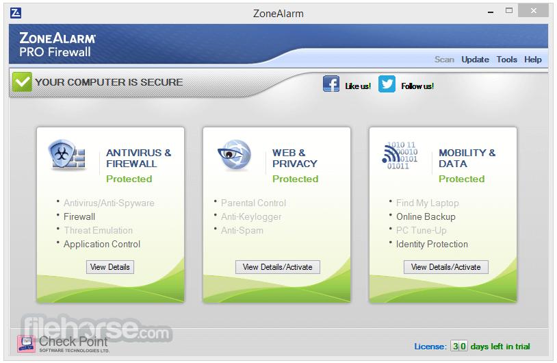 ZoneAlarm Pro Firewall 15.1.501.17249 Captura de Pantalla 1