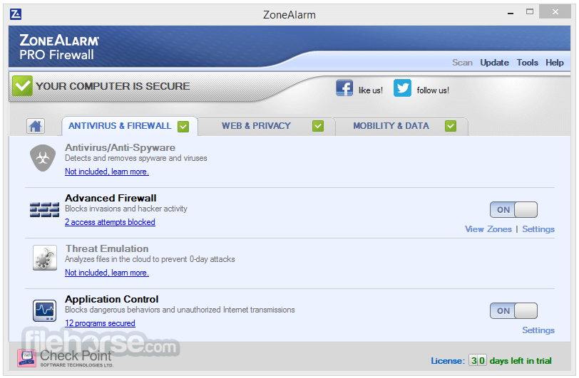 ZoneAlarm Pro Firewall 15.3.060.17669 Screenshot 2
