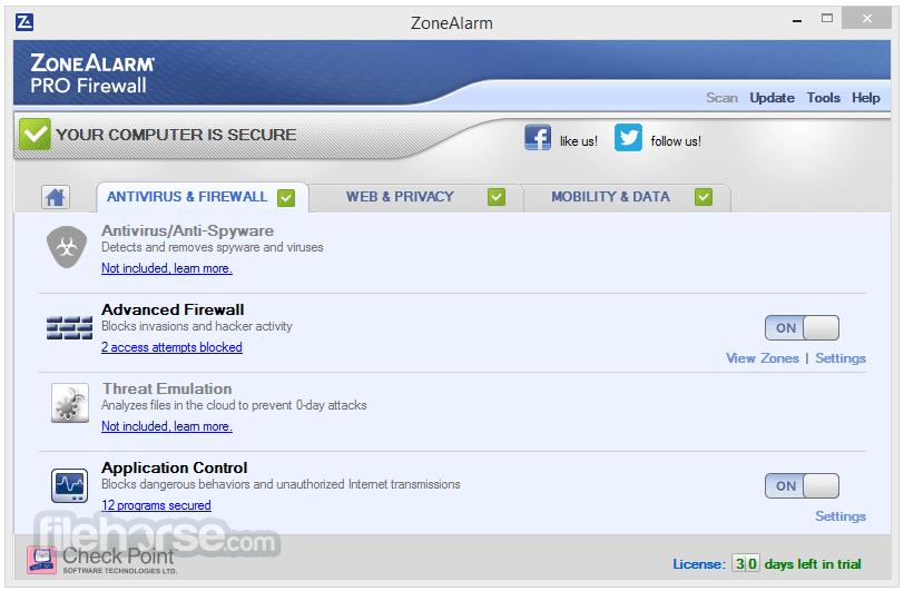 ZoneAlarm Pro Firewall 15.1.501.17249 Captura de Pantalla 2