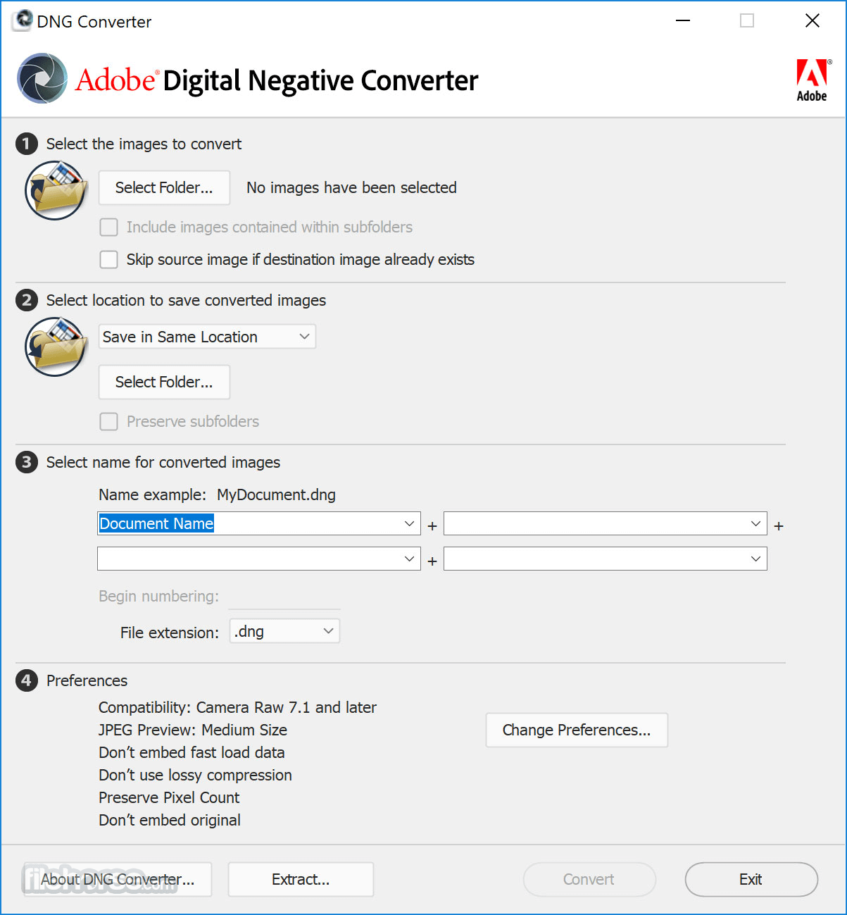 Adobe DNG Converter 10.3.0.933 Screenshot 1