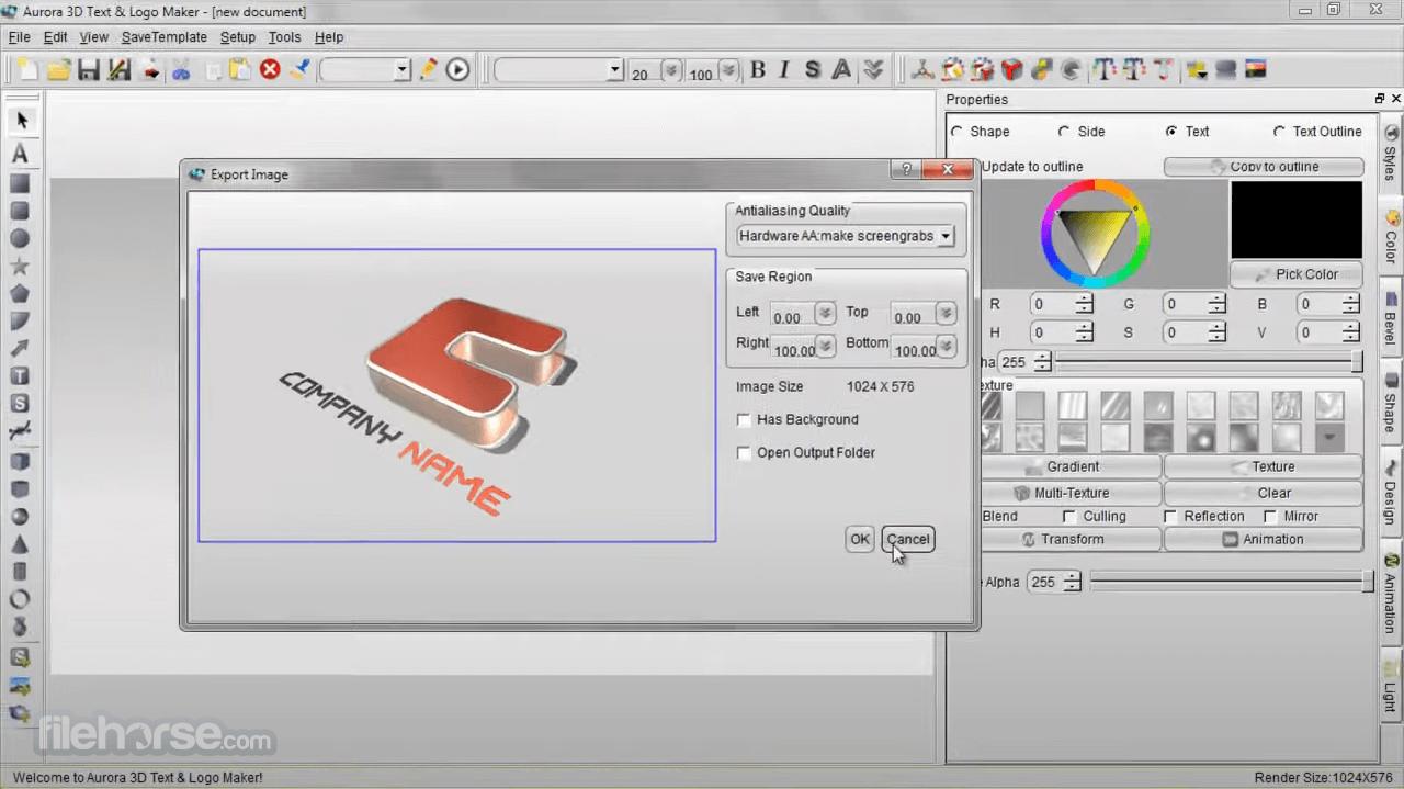 Aurora 3D Text & Logo Maker 16.1.7 Screenshot 3