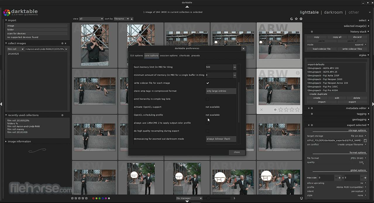 Darktable 3.4.1 Captura de Pantalla 1