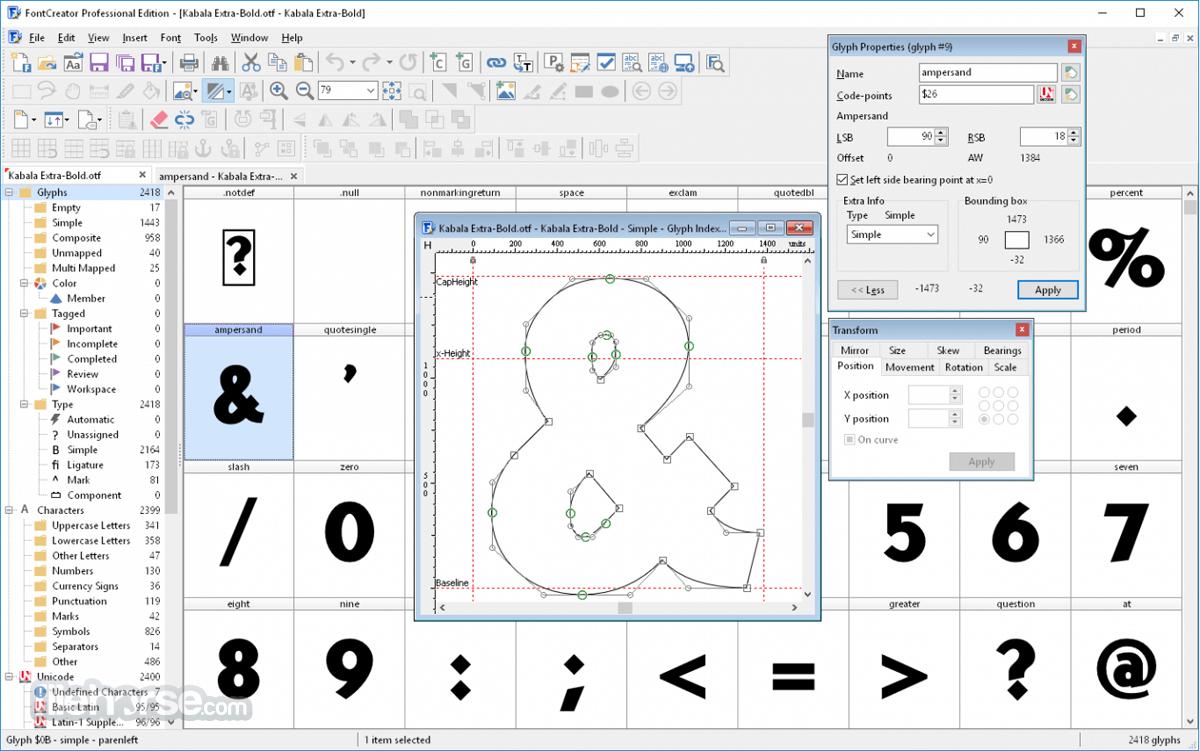 FontCreator 14.0.0.2808 (32-bit) Screenshot 1