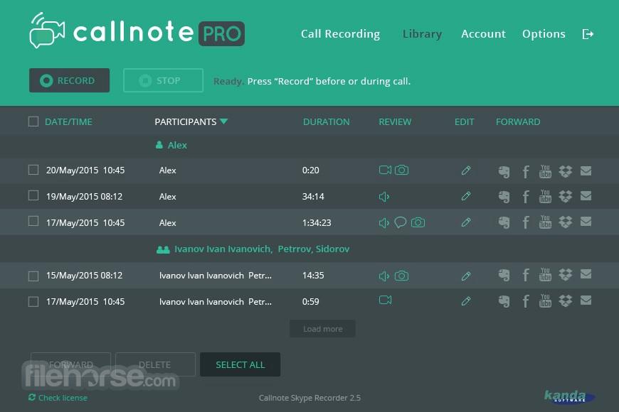 Callnote 5.3.11 Captura de Pantalla 2