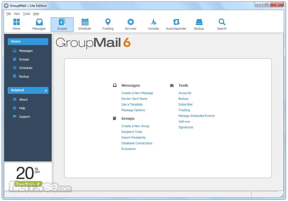 GroupMail Lite 6.0.0.59 Captura de Pantalla 1