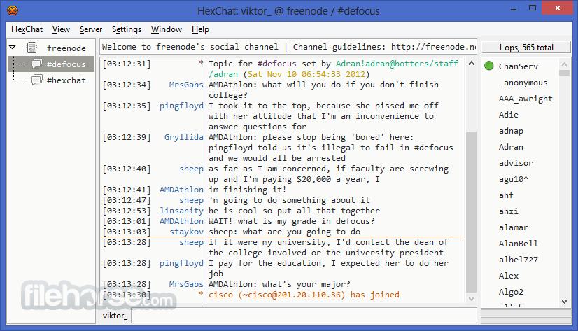 HexChat 2.14.3 (64-bit) Screenshot 1