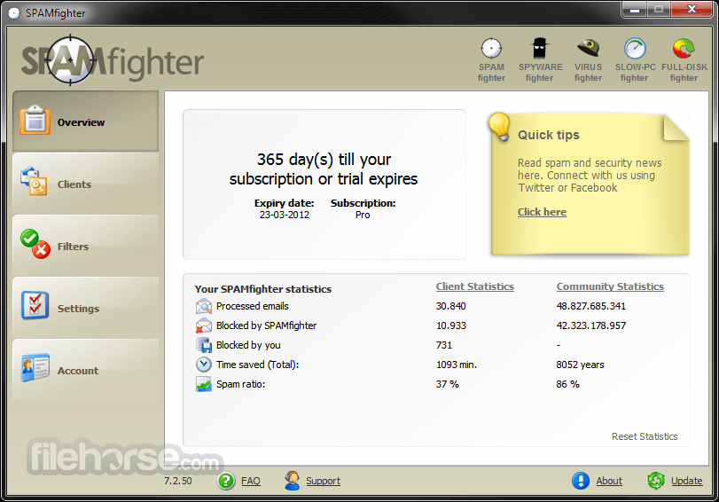 SPAMfighter Standard 7.6.131 Captura de Pantalla 1