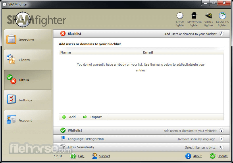 SPAMfighter Standard 7.6.131 Captura de Pantalla 2