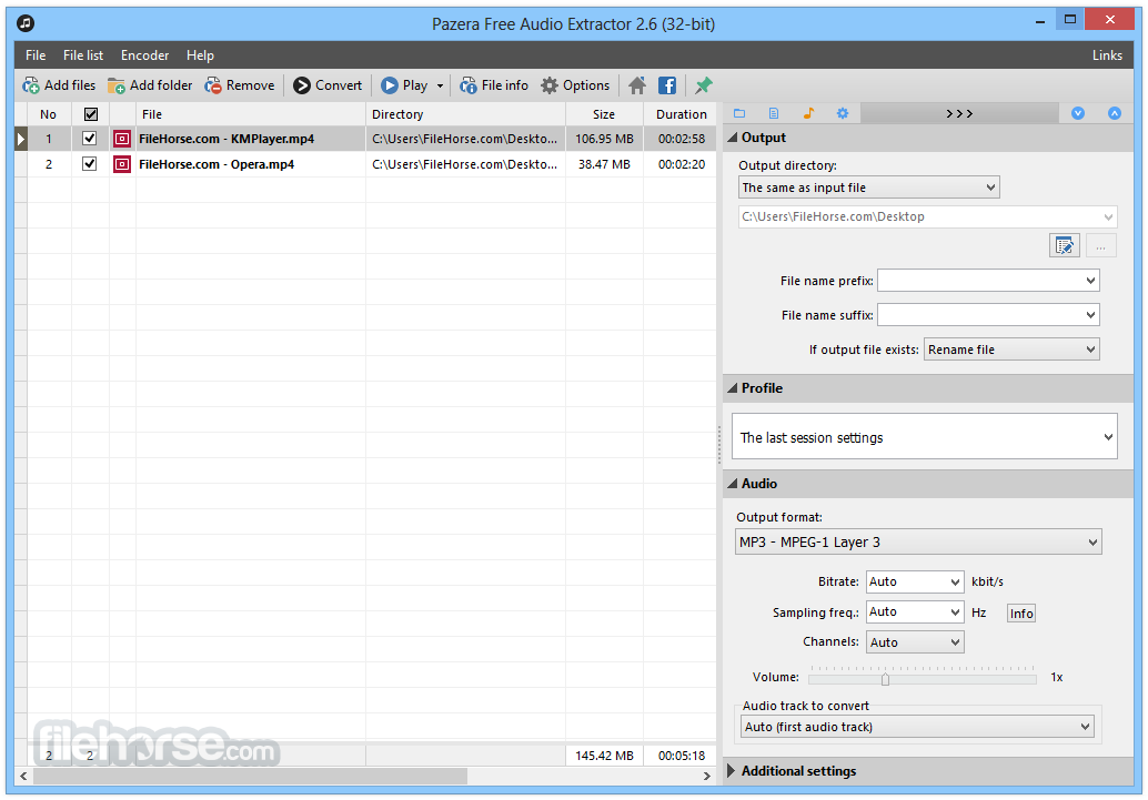 Pazera Free Audio Extractor 2.10 Screenshot 1