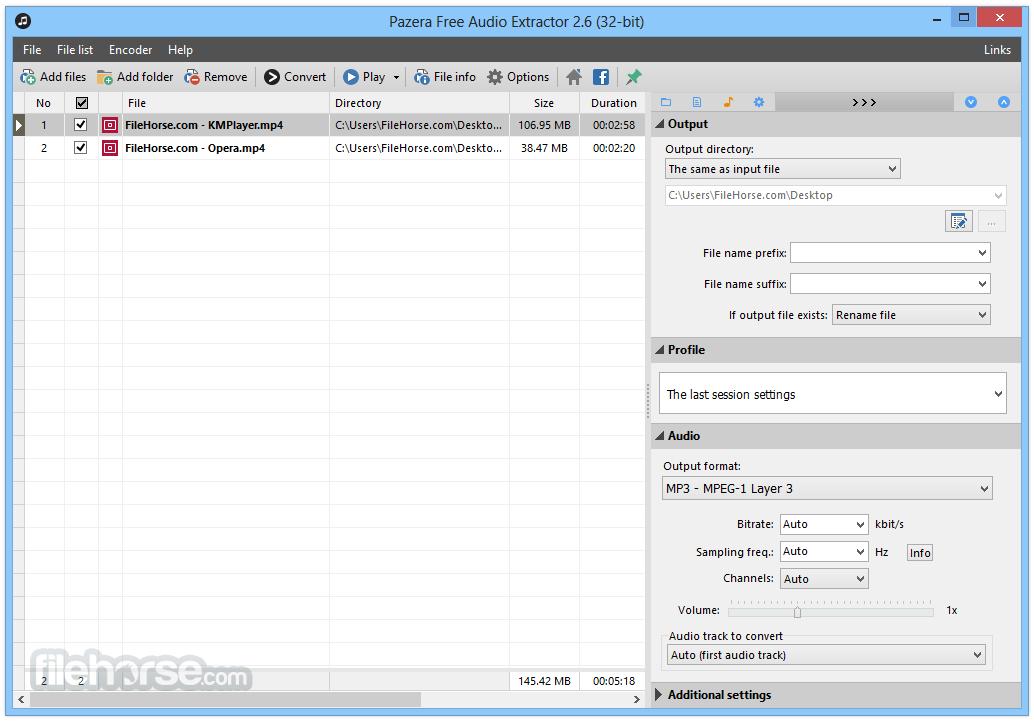 Pazera Free Audio Extractor 2.6 Screenshot 1