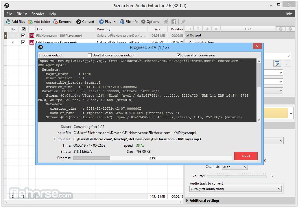 Pazera Free Audio Extractor 2.6 Screenshot 3