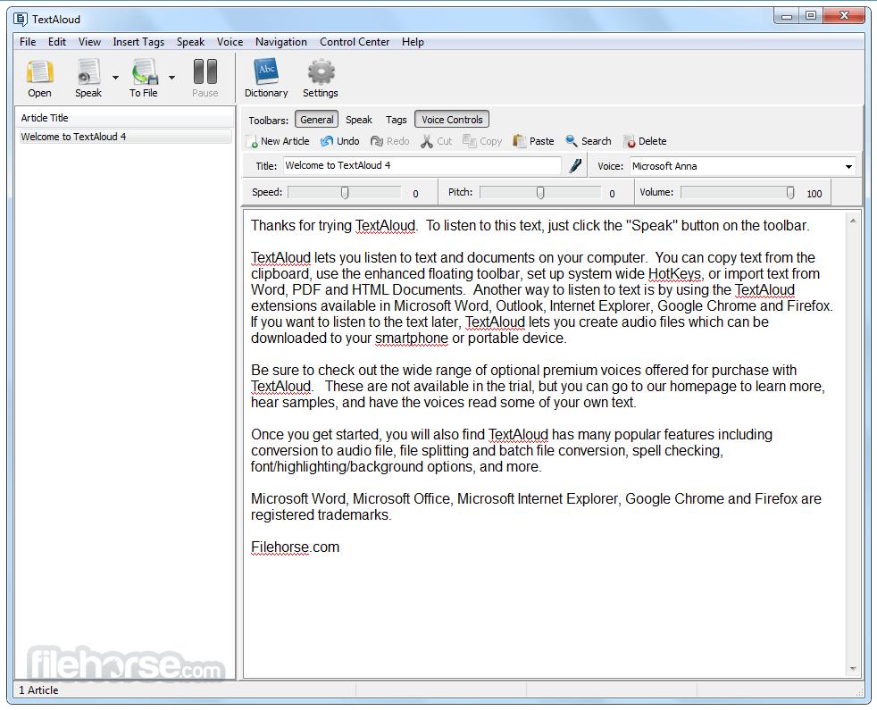 TextAloud 4.0.50 Screenshot 1