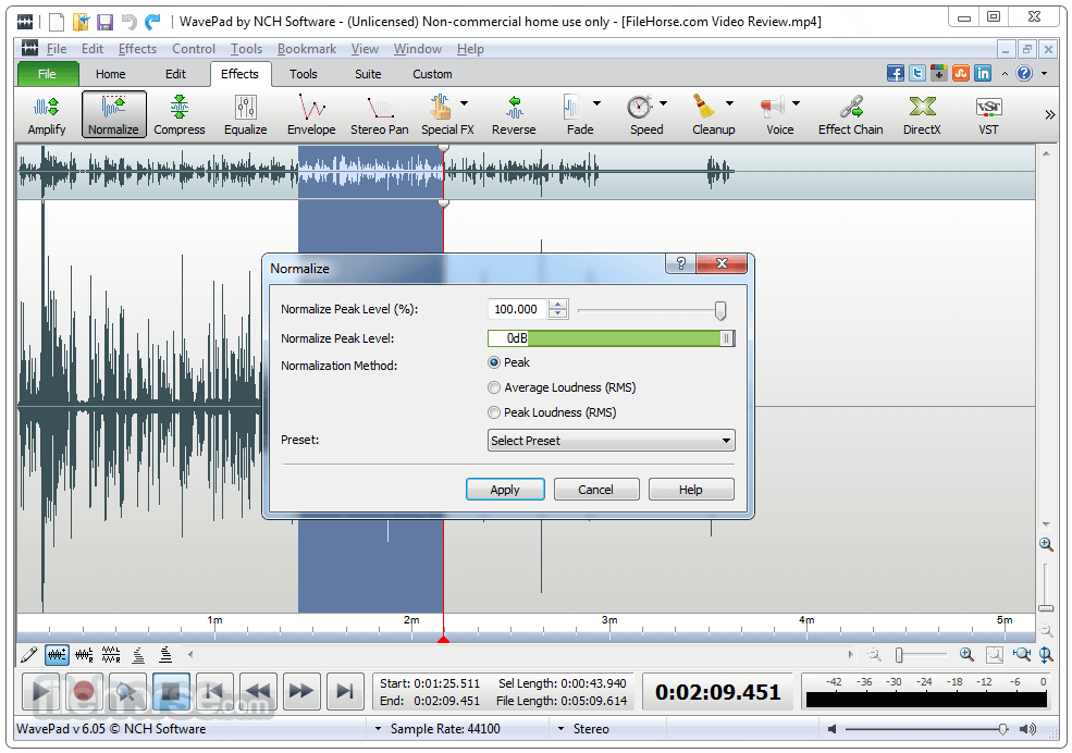 WavePad Sound Editor 8.13 Captura de Pantalla 3