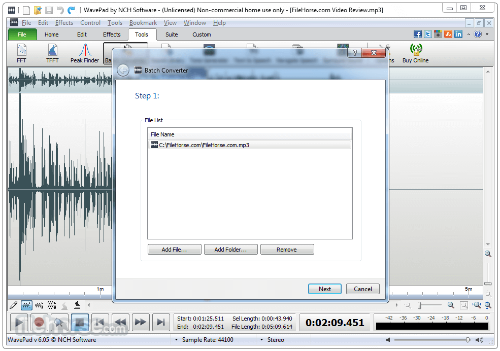 WavePad Sound Editor 8.13 Captura de Pantalla 4