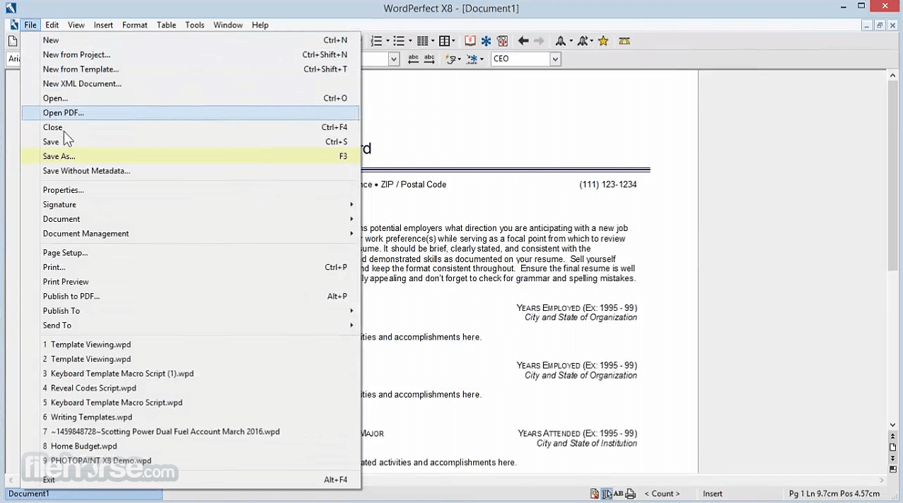 Corel WordPerfect Office X9 19.0.0.325 Captura de Pantalla 2