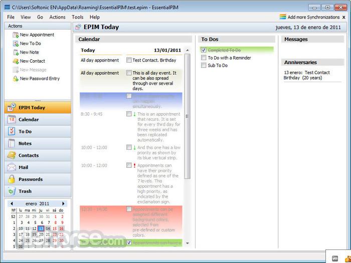 EssentialPIM 7.61 Captura de Pantalla 2
