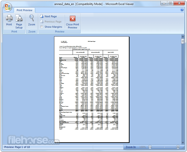 Excel Viewer 12.0.6219.1000 Screenshot 2