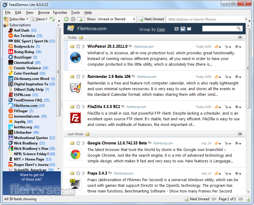 FeedDemon 4.5.0.0 Screenshot 3
