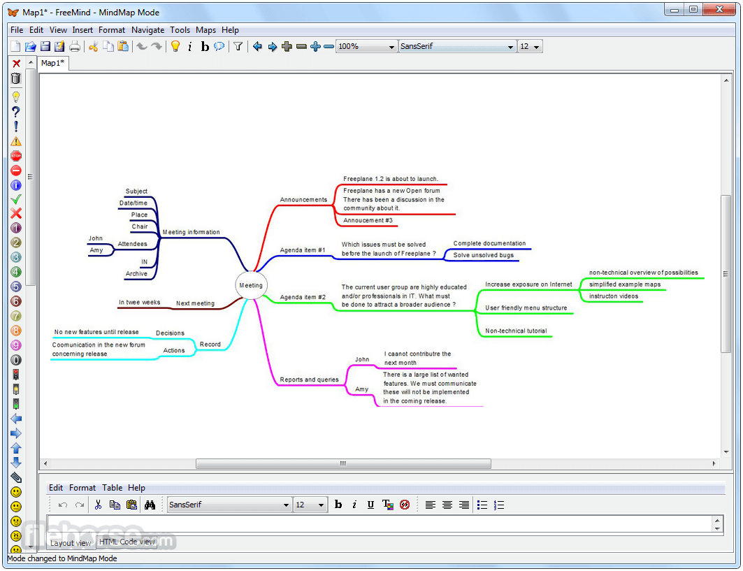 FreeMind 1.0.1 Screenshot 2
