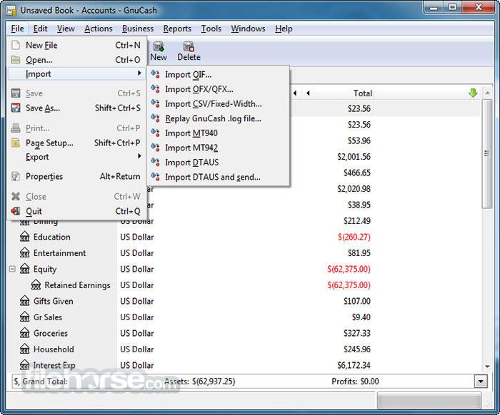 GnuCash 2.7.3 Screenshot 2