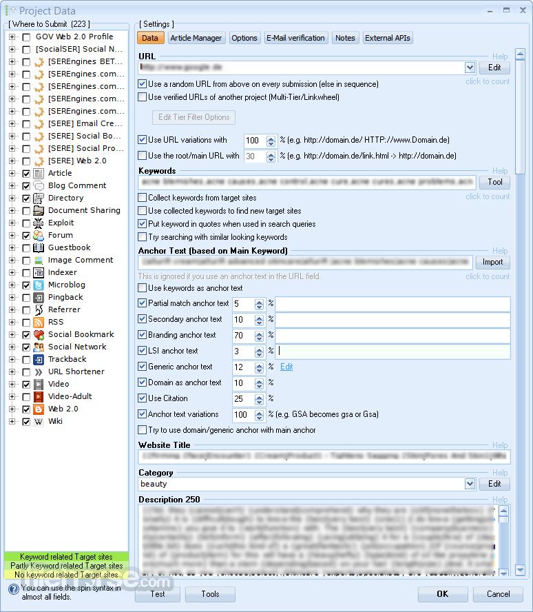 GSA Search Engine Ranker 15.45 Screenshot 3