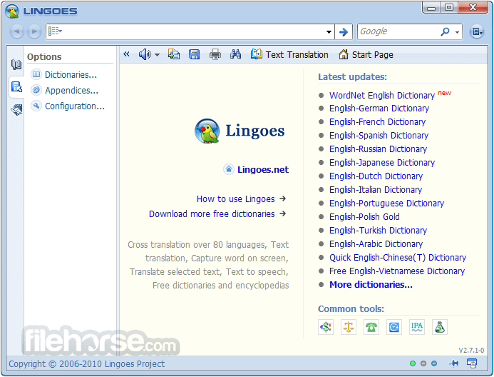Lingoes 2.9.2 (32-bit) Captura de Pantalla 1