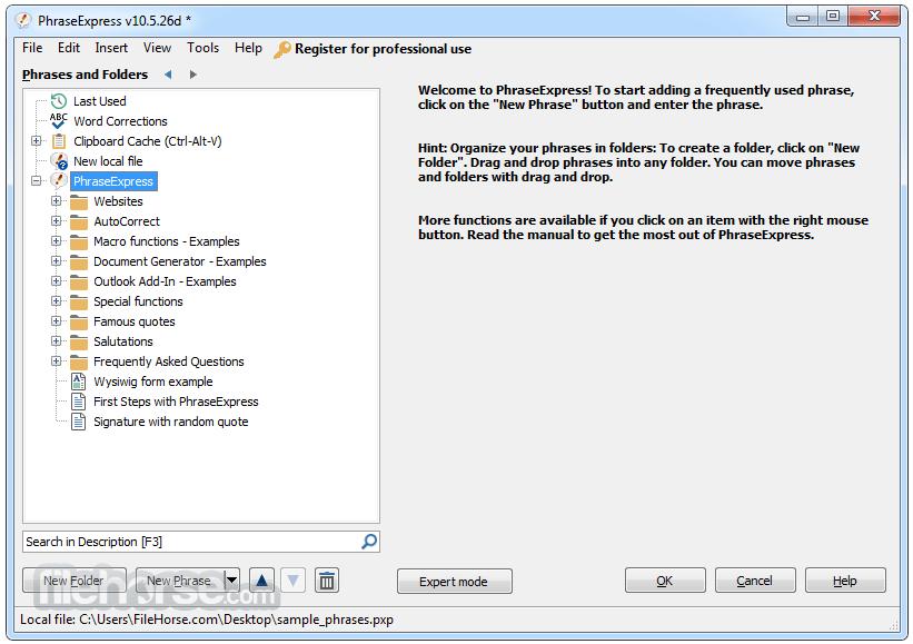PhraseExpress 13.5.7d Screenshot 1