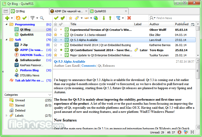 QuiteRSS 0.18.12 Screenshot 1